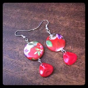 Jewelry - Red Mother of Pearl Floral Czech Handmade Earrings